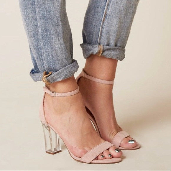 c55c0c3022f Mauve Clear Block Heel Barely There Strap Sandal NWT